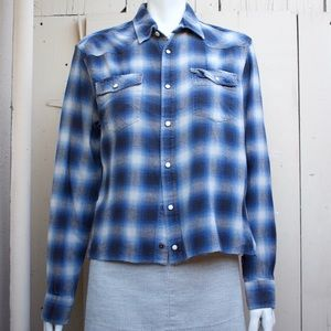 LOGG H&M blue snap front flannel